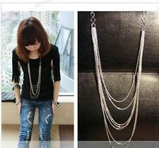 Vintage Retro Style Silver 7 layer Long Tassel Pendant Necklace Sweater Chain