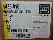 """PVC 1 1/2""""  Insert Male Adapter MPT (pipe) SPEARS Part #1436-015 NEW 25 pcs case"""
