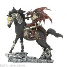 LARGE DRAGON WARRIOR HORSE FANTASY STATUE FIGURINE MEDIEVAL MYSTIC GOTHIC DECOR