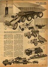1962 PAPER AD Toy Truck Eldon Giant Dump Tow Wrecker Nylint Structo Tonka Jeep