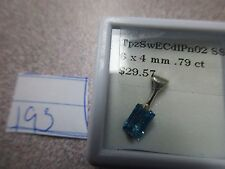 BEAUTIFUL BLUE SWISS TOPAZ EMERALD 6X4MM STERLING SILVER PENDENT ONLY GORGEOUS