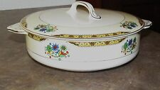 PAREEK JOHNSON BROTHERS ENGLAND Large Colorful Covered Dish & Lid, Circa 1900
