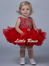 Flower Little Girls Red Baby Cupcake Kids Infant Toddler Short Pageant Dresses