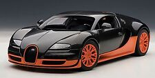 Autoart BUGATTI VEYRON SUPER SPORT (CARBON BLACK/ORANGE W/SKIRTS 1:18 In Stock!
