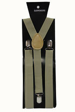 Olive Green Adjustable Braces Suspenders Mens Women Fancy Dress Clip On Slim 2.5
