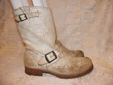 Frye Jenna White Antiqued Distressed Leather Moto Boots Womens Size 8 B 76516