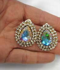 Gold Plated Clear Rhinestone Crystal Teardrop Shaped Clip On Earrings # 1147
