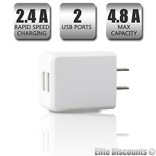 1x DUAL 2.4A USB Power Adapter AC Home Wall Charger for iPhone Samsung 4.8Amps