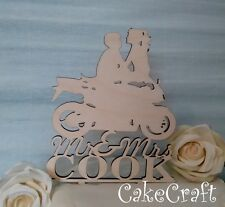 Wooden Motorbike Mr and Mrs  Wedding, anniversary cake topper decoration