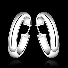 Smooth Solid Silver Fashion Jewelry Wide Circle Men Women Hoop Earrings EP595