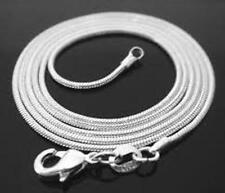 925 Stamped Sterling Silver 1mm Snake Chain Necklace 18""