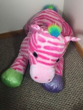 "Goffa Jumbo 50"" Plush Zebra Horse SPARKLES Pink Rainbow Stuffed Animal"