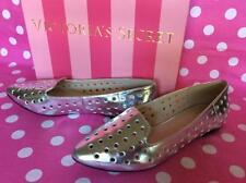 NEW Victoria's Secret Silver Espadrille Flats Slip On Walking Lounge Shoes 6.5