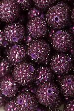 20mm Violet Rhinestone Chunky Beads 10ct for Bubblegum Gum Ball Necklace