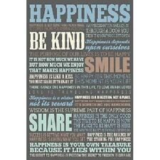 Happiness Quotes Motivational Poster Wall Art Print Great Holiday Crhistmas Gift