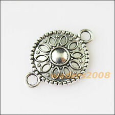 10 New Flower Round Connectors Tibetan Silver Tone Charms Pendants 15.5x23mm
