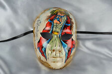 Full Face Masquerade Mask with Colourful Venetian Character - Colombina