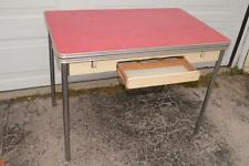 40s 50s Vtg RED FORMICA TOP KITCHEN TABLE Chrome Leg WOOD FRAME Drawer DROP LEAF