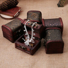 Vintage Jewelry Pearl Necklace Bracelet Storage Holder Lock Wooden Case Gift Box