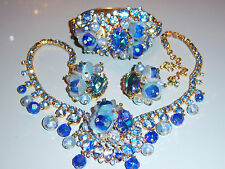 VTG JULIANA FOR HOBE BLUE ART GLASS RHINESTONE NECKLACE BRACELET EARRING SET