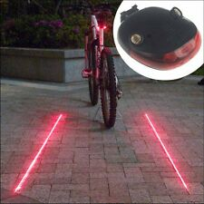 5 LED 2 Laser Beam MTB Mountain Bicycle Bike Cycle Rear Tail Warning Lamp Light