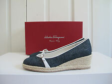NIB $500 Salvatore Ferragamo Audrey Chambray Espadrille Wedge Shoes 7 Denim Blue