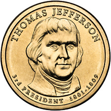 2007 Thomas Jefferson US P or D Unc Presidential Dollar Coin