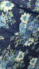 "1 MTR BLUE FLOWERY FLORAL 4 WAY LYCRA STRETCH FABRIC..60"" WIDE £3.49"