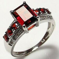 Halo Classic Size 10 Red Garnet 18K Gold Filled Fashion Engagement Woman's Ring