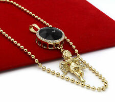 "Mens Gold Plated Simulated Black Round Ruby Angel Pendant Hip-Hop 27"" Ball Chain"