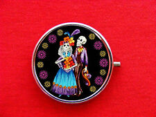 DAY OF THE DEAD SKELETON 2 ROUND METAL PILL MINT BOX CASE