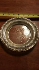 large sterling silver and cut glass wine bottle coaster