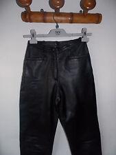 Pantalon en véritable cuir coupe droite taille S 34 noir - superbe qualité
