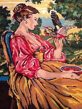"Large Vintage Completed Needlepoint Canvas Art Tapestry 24"" x 30"""