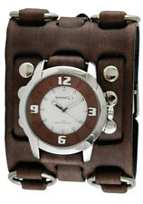 Nemesis Mens Brown/White Embossed Watch with Faded Wide Detail Leather Cuff Band