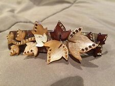 Alexandre De Paris brown crystal leaf gold tone barrette