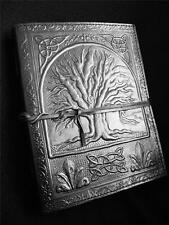 Pagan WiccaTREE of LIFE - Handmade BLACK Leather Journal Diary Book-of-Shadows