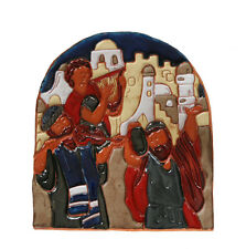 Jewish Art, Ceramic Wall Decor Relief, Dancing Singing Jerusalem Israel Yigal *