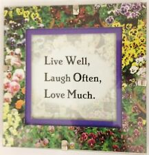 """Floral Print Inspiration 5X5"""" LIVE WELL LAUGH OFTEN LOVE MUCH Picture Frame Sign"""