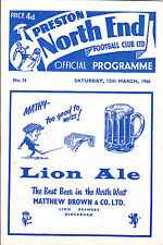PRESTON NORTH END v HUDDERSFIELD TOWN 65-66 LEAGUE MATCH