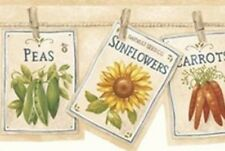 Wallpaper Border Country Flower & Vegetable Seed Packets Pinned on Clothesline