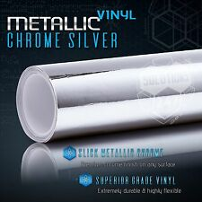 "Silver Chrome Mirror Vinyl Wrap Film Roll Sheet Air Bubble Free 12"" x 60"" In"