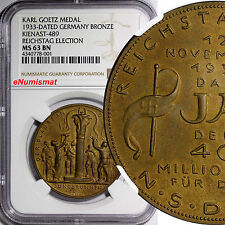 Goetz Medal 1933 Bronze Kienast-489.Fountain Youth - Reichstag Election NGC MS63