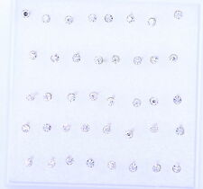 Super cute bundle. 20 pairs of clear 2mm crystal stud earrings