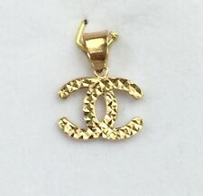 18k Solid Yellow Gold Cute Small Diamond Cut Charm/ Pendant.