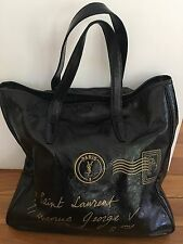 Authentic Yves Saint Laurent Black Patent Leather Tote Bag