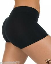 NEW WOMEN'S LARGE COTTON / SPANDEX BOOTY SHORTS LEGGINGS DANCE BLACK SEXY NWT