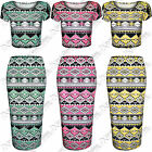 NEW WOMENS LADIES BRIGHT AZTEC PRINT SUIT CROP TOP MIDI PENCIL SKIRTS TOPS SET
