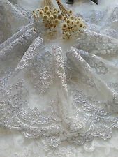 Silver Floral Lace Trim Venice Embroidered Tulle Lace Trim 5.51 Inches 1 Yard