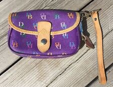 Dooney And Bourke Purple Wristlet Leather Coated Canvas Multi Color Logo
